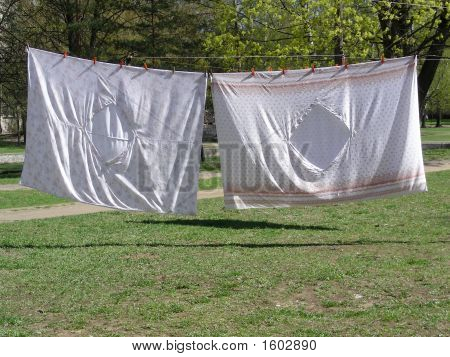 Washed Drying Bedclothes