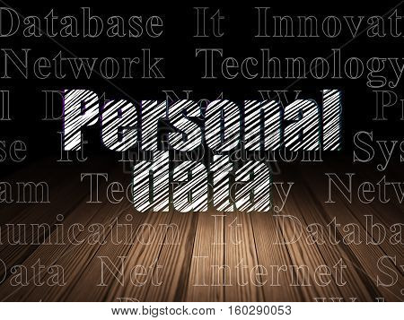 Data concept: Glowing text Personal Data in grunge dark room with Wooden Floor, black background with  Tag Cloud