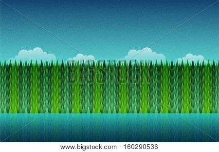 Forest, lake and sky seamless. Abstract nature landscape. Vector illustration. Elements are layered separately in vector file.