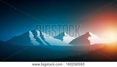 Sunset in the mountain chain and forest. Vector landscape illustration. Elements are layered separately in vector file.