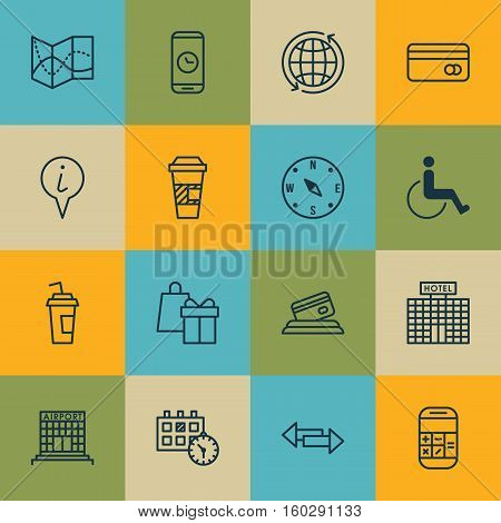 Set Of 16 Travel Icons. Can Be Used For Web, Mobile, UI And Infographic Design. Includes Elements Such As Around, Debit, Appointment And More.