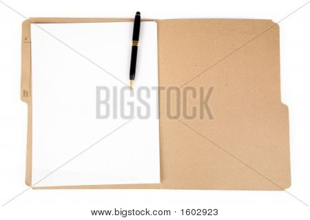 File Folder And Pen