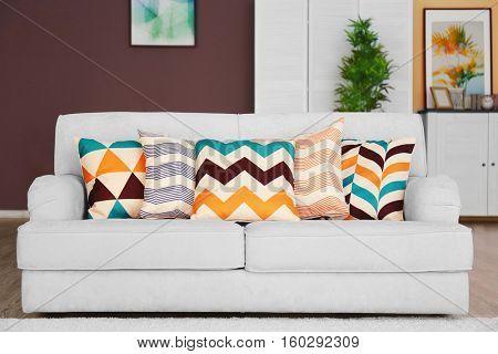 Modern home interior with couch