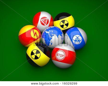 Billiard Balls With Danger Signs