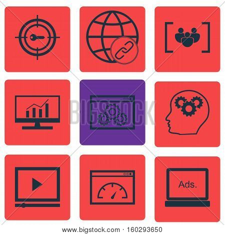 Set Of 9 Advertising Icons. Can Be Used For Web, Mobile, UI And Infographic Design. Includes Elements Such As Link, Display, Dynamics And More.
