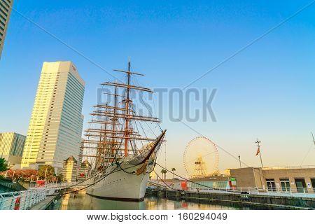 YOKOHAMA, JAPAN - November 24: Nippon Maru in Yokohama, Japan on November 24, 2015. Nippon Maru was a training ship for the cadets of the Japanese merchant marine. She was built in 1930.
