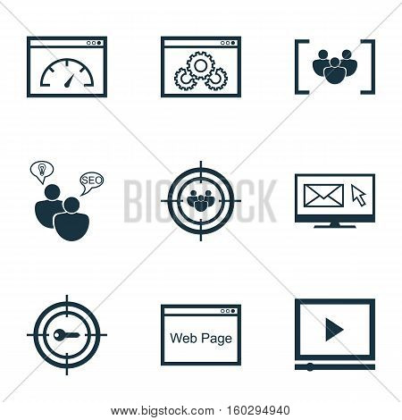 Set Of 9 SEO Icons. Can Be Used For Web, Mobile, UI And Infographic Design. Includes Elements Such As Research, Marketing, Target And More.
