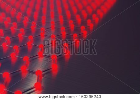 3d rendering red abstract nanotechnology hexagonal geometric form close-up, concept graphene atomic structure, concept graphene molecular structure