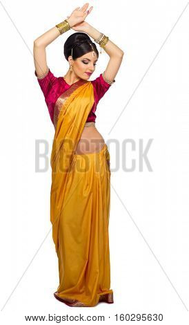 Young indian woman isolated on white
