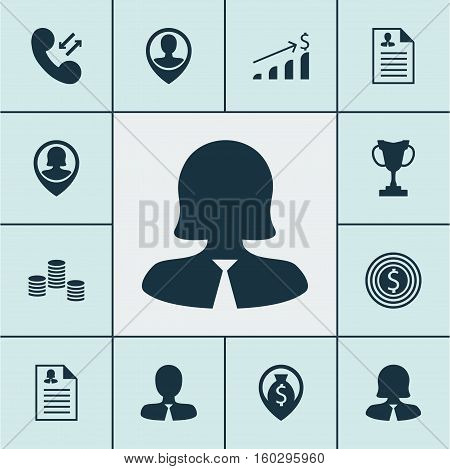 Set Of 12 Management Icons. Can Be Used For Web, Mobile, UI And Infographic Design. Includes Elements Such As Career, User, Increase And More.