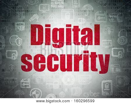 Safety concept: Painted red text Digital Security on Digital Data Paper background with   Hand Drawn Security Icons