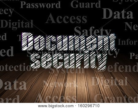 Protection concept: Glowing text Document Security in grunge dark room with Wooden Floor, black background with  Tag Cloud
