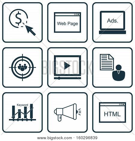Set Of 9 Marketing Icons. Can Be Used For Web, Mobile, UI And Infographic Design. Includes Elements Such As Browser, Page, Focus And More.