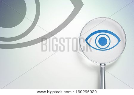 Safety concept: magnifying optical glass with Eye icon on digital background, empty copyspace for card, text, advertising, 3D rendering