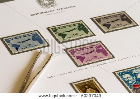 Full Set Of Postage Stamps Depicting The Visit Of President Gronchi  In South America In April 1961