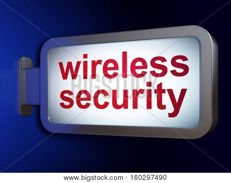 Security concept: Wireless Security on advertising billboard background, 3D rendering