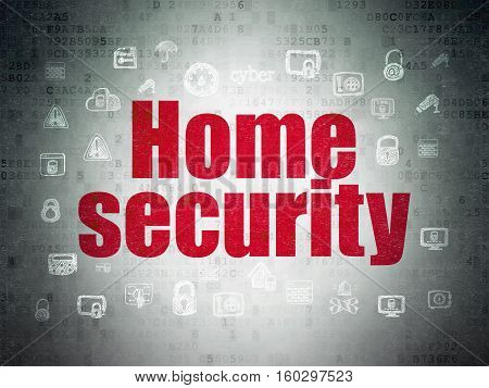 Safety concept: Painted red text Home Security on Digital Data Paper background with  Hand Drawn Security Icons