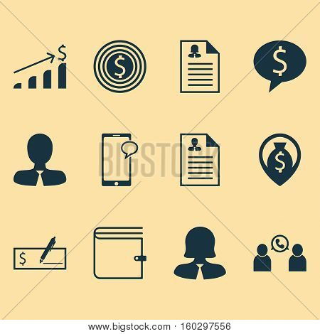 Set Of 12 Human Resources Icons. Can Be Used For Web, Mobile, UI And Infographic Design. Includes Elements Such As Increase, Check, Conference And More.