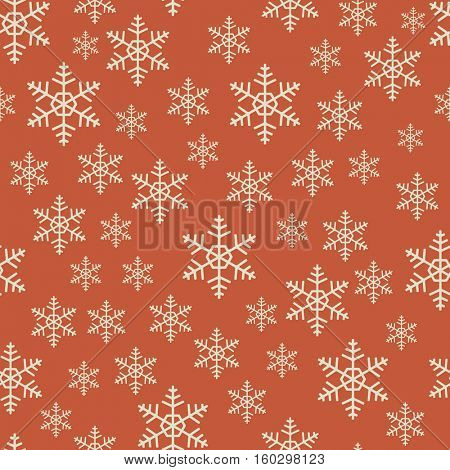 Seamless red and white Christmas snowflake vector pattern. Gift wrapping paper template.