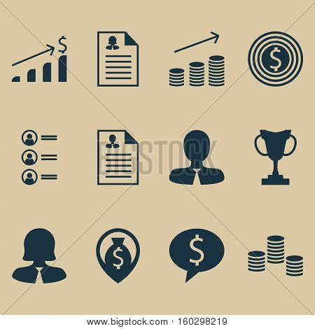 Set Of 12 Management Icons. Can Be Used For Web, Mobile, UI And Infographic Design. Includes Elements Such As Dollar, Coins, Cash And More.