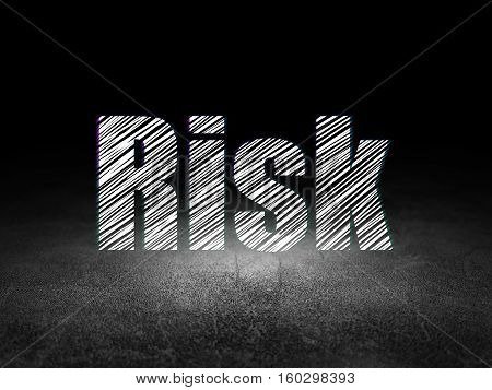 Business concept: Glowing text Risk in grunge dark room with Dirty Floor, black background