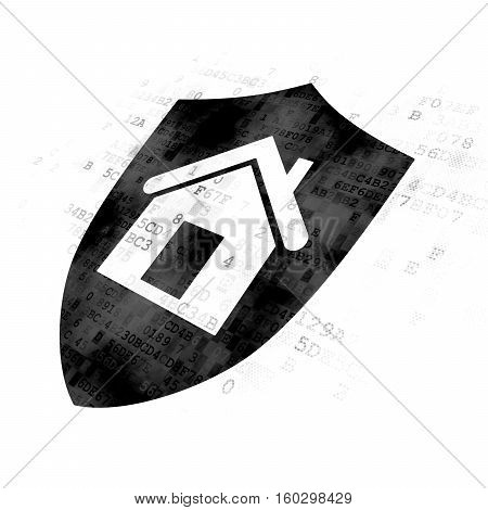 Finance concept: Pixelated black Shield icon on Digital background