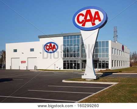 DARTMOUTH CANADA - DECEMBER 06 2106: The Canadian Automobile Association or CAA is a not for profit group which provides several automobile services including roadside insurance and travel services.