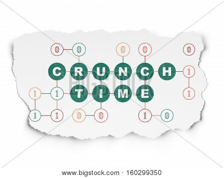 Finance concept: Painted green text Crunch Time on Torn Paper background with Scheme Of Binary Code