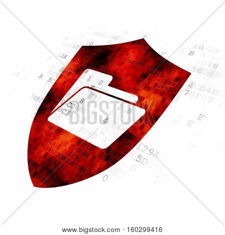 Business concept: Pixelated red Folder With Shield icon on Digital background