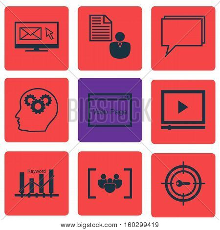 Set Of 9 Advertising Icons. Can Be Used For Web, Mobile, UI And Infographic Design. Includes Elements Such As Online, Page, Marketing And More.