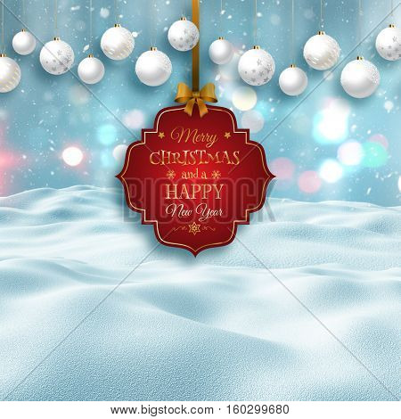 3D render of a snowy landscape with decorative Christmas label and baubles