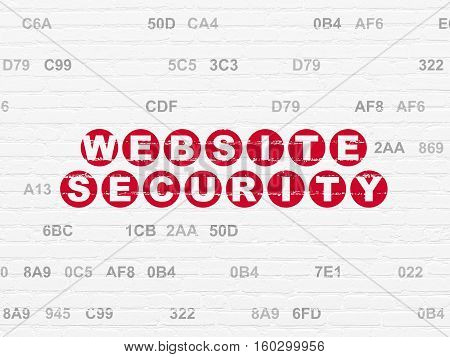 Web design concept: Painted red text Website Security on White Brick wall background with Hexadecimal Code