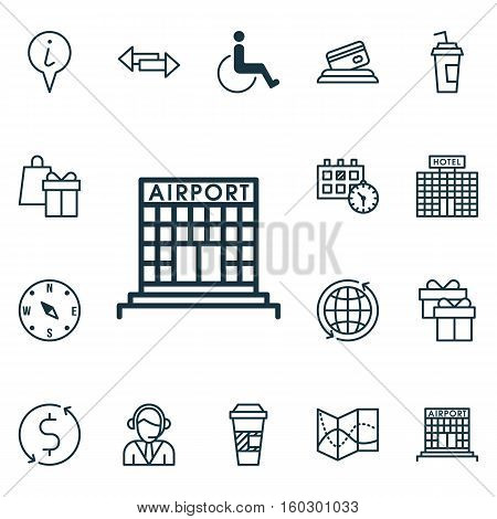 Set Of 16 Travel Icons. Can Be Used For Web, Mobile, UI And Infographic Design. Includes Elements Such As Exchange, Map, Around And More.