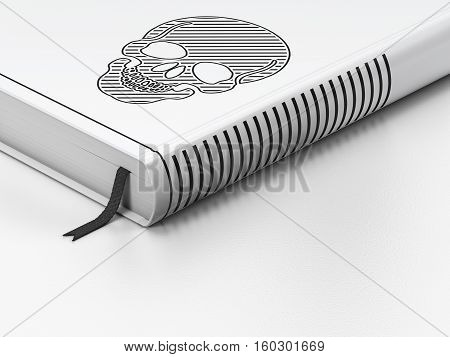 Health concept: closed book with Black Scull icon on floor, white background, 3D rendering