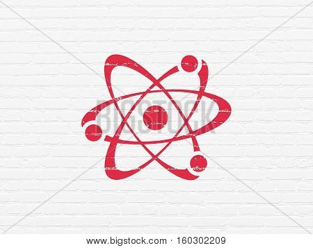 Science concept: Painted red Molecule icon on White Brick wall background