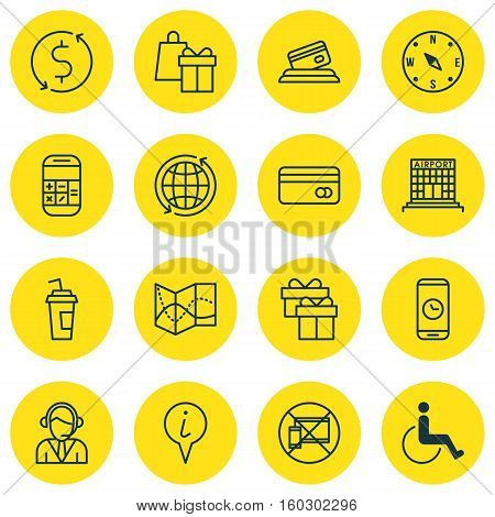 Set Of 16 Transportation Icons. Can Be Used For Web, Mobile, UI And Infographic Design. Includes Elements Such As Center, Shopping, Compass And More.