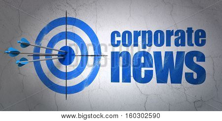 Success news concept: arrows hitting the center of target, Blue Corporate News on wall background, 3D rendering