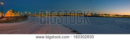 marina on the Lieutenant Schmidt Embankment in St. Petersburg, Russia