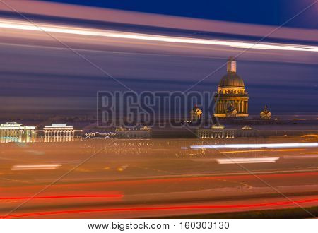 View of St. Isaac's Cathedral with the Lieutenant Schmidt Embankment in St. Petersburg, Russia