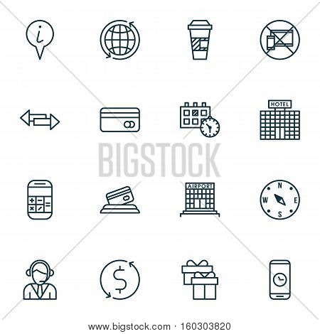 Set Of 16 Airport Icons. Can Be Used For Web, Mobile, UI And Infographic Design. Includes Elements Such As Gift, Map, Building And More.