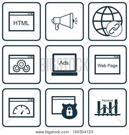 Set Of 9 Advertising Icons. Can Be Used For Web, Mobile, UI And Infographic Design. Includes Elements Such As Speed, Ranking, Code And More.