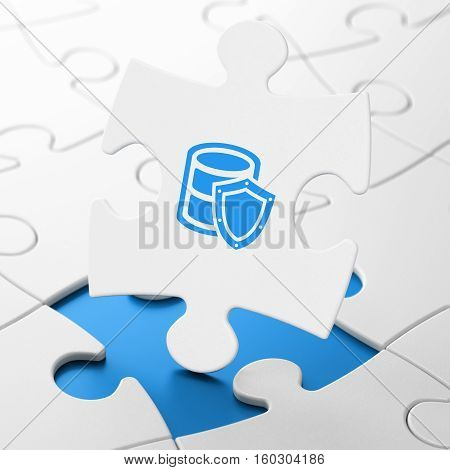 Programming concept: Database With Shield on White puzzle pieces background, 3D rendering