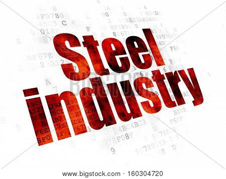 Manufacuring concept: Pixelated red text Steel Industry on Digital background