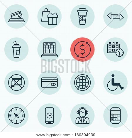 Set Of 16 Traveling Icons. Can Be Used For Web, Mobile, UI And Infographic Design. Includes Elements Such As Operator, Debit, Math And More.