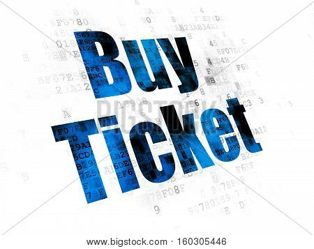 Tourism concept: Pixelated blue text Buy Ticket on Digital background
