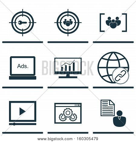 Set Of 9 Marketing Icons. Can Be Used For Web, Mobile, UI And Infographic Design. Includes Elements Such As Display, Bulding, Comprehensive And More.