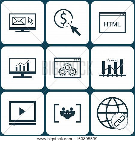 Set Of 9 SEO Icons. Can Be Used For Web, Mobile, UI And Infographic Design. Includes Elements Such As Bulding, Dynamics, Per And More.