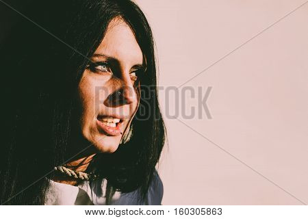 Haunted Female Portrait.Scary face of the young female