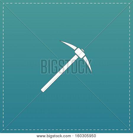 Pick icon. White flat icon with black stroke on blue background