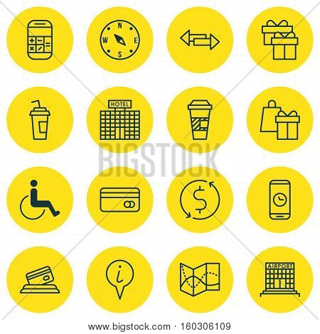 Set Of 16 Traveling Icons. Can Be Used For Web, Mobile, UI And Infographic Design. Includes Elements Such As Map, Gift, Phone And More.